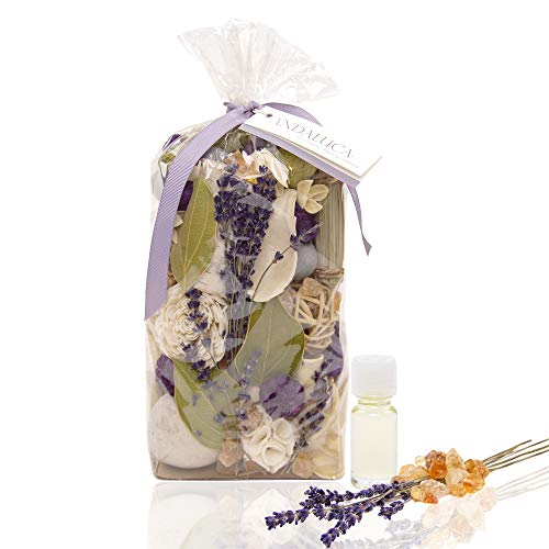 - Andaluca Amber Lavender Potpourri | Large 20 oz Bag + Fragrance Vial | Scents of Crushed Lavender, Crystal Amber, White Eucalyptus, Sheer Musk and Sage | Purple Home Decor Fragrance