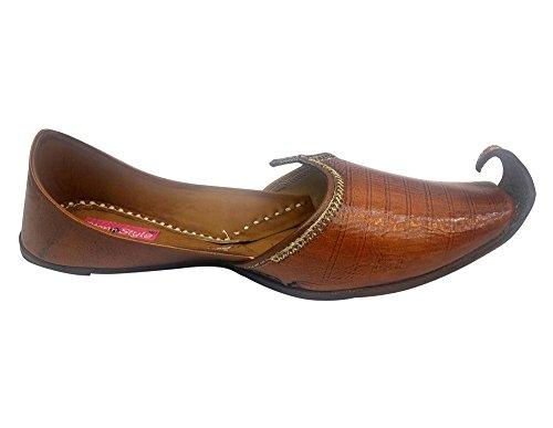 Trinn N Stil Menn Håndlaget-sko Tradisjonelle-lær-khussa Punjabi Jutti Kolhapuri