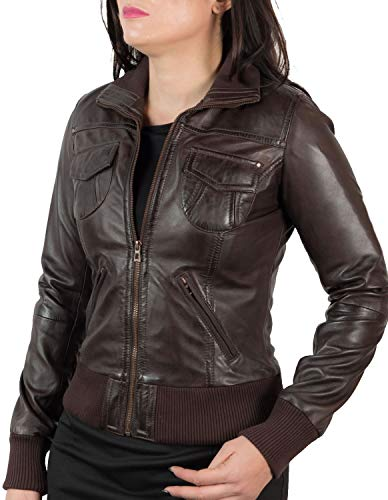 - Brown Leather Jacket Women | Genuine Lambskin Ladies Moto Leather Jackets