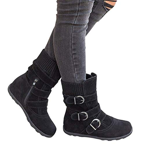 (VANDIMI Ankle Boots for Women Warm Zipper Suede Booties Mid Flat Boot with Buckles Strap Round Toe Strappy Shoes Black)