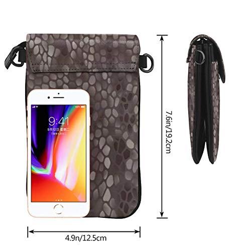Hdadwy mobiltelefon crossbody väska klassisk ormskinn kvinnor PU-läder mode handväska med justerbar rem