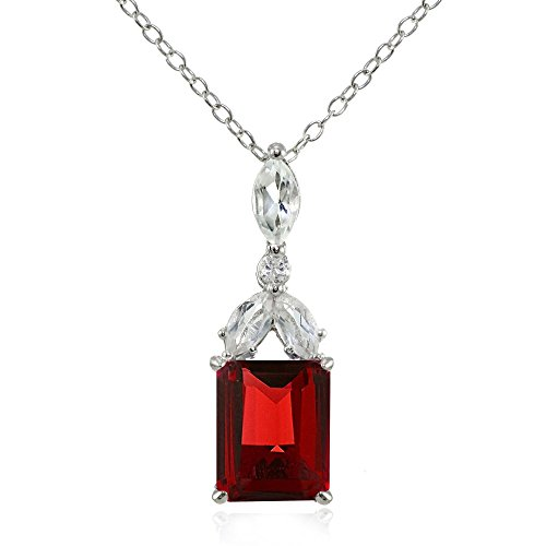 Ice Gems Sterling Silver Choice of Created or Genuine Gemstone & White Topaz Emerald-Cut Drop Necklace