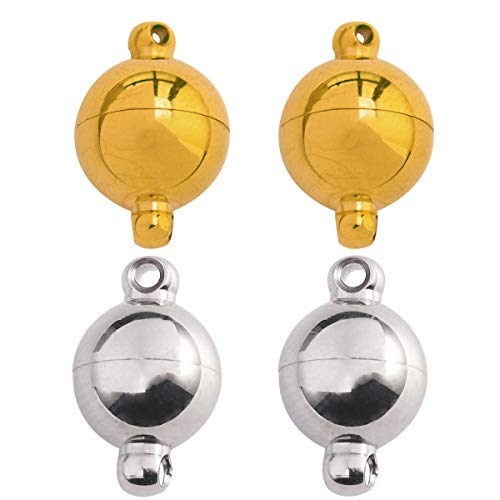 Tiparts 18k Gold and Silver Tone Strong Magnetic Jewelry Clasps Stainless Steel Round Ball Magnetic Clasps for Bracelet Necklace Jewelry Making 10mm x 6mm,4 Sets