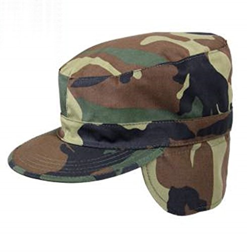 Vintage Year Military G.I. Type Combat Army Ear Flaps Cap (Woodland Camo, 7 3/4) (Gi Paintballs Winter Sports)