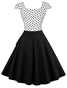 LaceLady Boatneck Vintage Sleeveless Green Tea Dress With Belt Pleated White Polka Dot Swing Party Floral 29L
