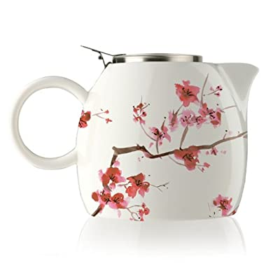 Tea Forte PUGG 24oz Ceramic Teapot with Tea Infuser, Cherry Blossoms