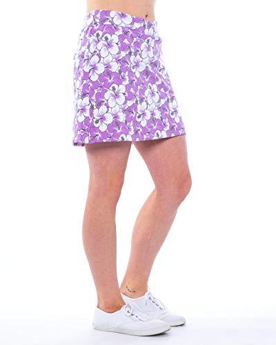 Haute Shot Golf Ladies Skort - Micro/Polyester Stretch with Pockets (Maui Fun, 14)