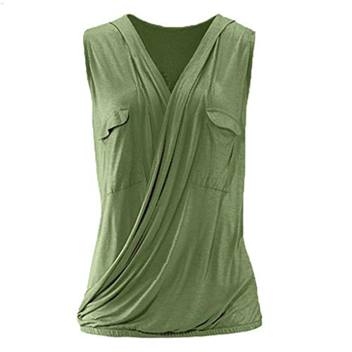 Effulow Women's Solid Color Pocket Cross Vest Ladies Casual V Neck Sleeveless Summer Fashion Style Tank Tops Green