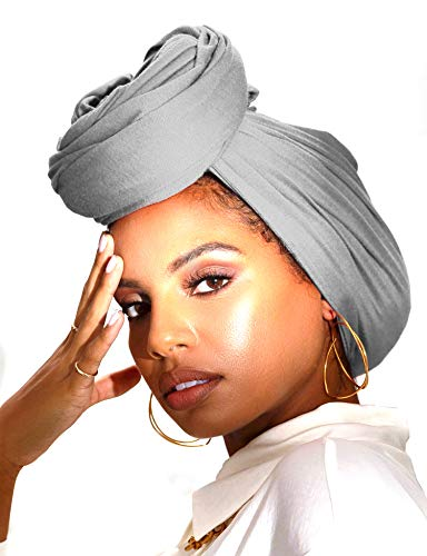 Long Cotton Head Wrap Scarf for Women African Breathable Hair Jersey Turban Headwrap Light Grey