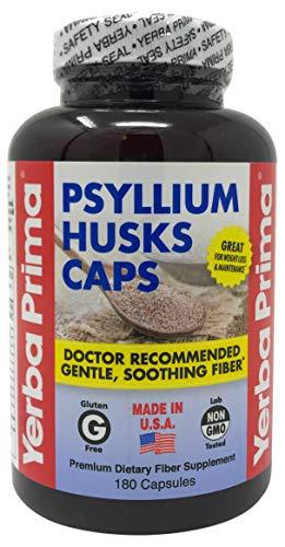 Yerba Prima Psyllium Husks Caps Dietary Fiber 625 mg, 180 Capsules ()
