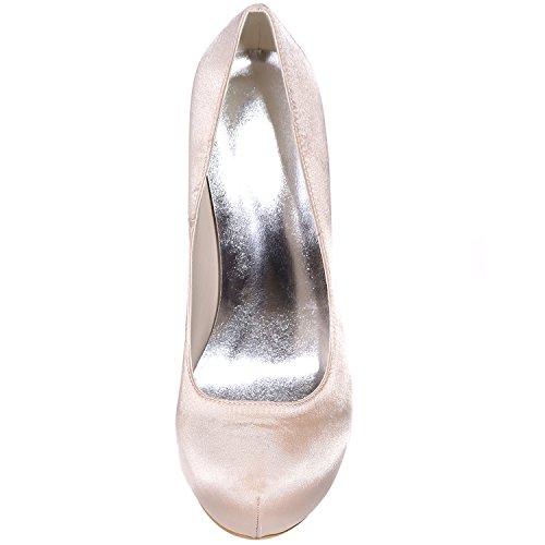 5 Round Sarahbridal de Reino 4 Zapatos Prom Unido Party Evening Reino Shoes Wedding 7 SZXF6915 Girls satén Nupcial Toe Bombas Unido mujer Plata Tamaño Tacones para w7qzwB