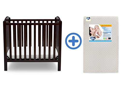 (Delta Children Emery Mini Convertible Baby Crib & Twinkle Stars 3-Inch Waterproof Mini Crib Mattress, Dark Chocolate)