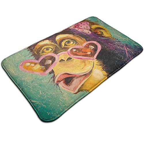 HengZhe Door Mat Cute Chimpanzee Painting Entrance Rug,Fade Resistant Floor Mats,Slip-Proof Bathroom Mat,Shoes Scraper Carpet,19.5x31.5x0.47 Inches]()