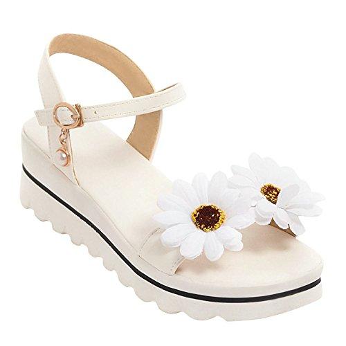 Mee Shoes Damen Keilabsatz Blumen Slingback Sandalen Weiß
