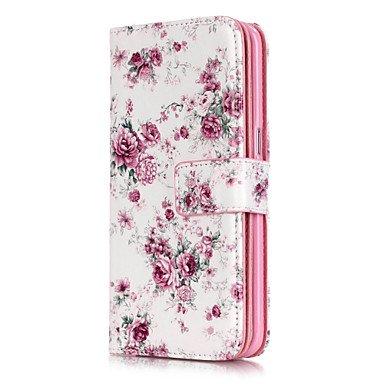 Casos hermosos, cubiertas, pequeñas flores de color rosa patrón de nueve tarjetas en relieve PU caja del teléfono material de cuero para la galaxia S3 / S4 / S5 / S6 ( Modelos Compatibles : Galaxy S7  Galaxy S6