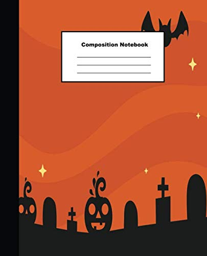 Composition Notebook: Orange Tone Halloween Mansion and Tombstones Wide Ruled Paper -