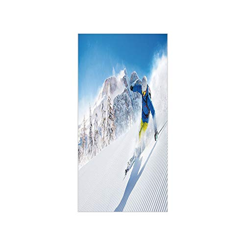 - 3D Decorative Film Privacy Window Film No Glue,Winter,Skier Skiing Downhill in High Mountains Extreme Winter Sports Hobbies Activity Decorative,for Home&Office
