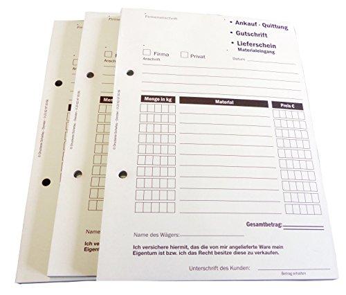 10xAnkaufquittung - Gutschrift - Materialeingang DIN A5, 1-fach NICHT durchschreibend,100 Blatt weiß Offset 80g/m² - gelocht (22609)