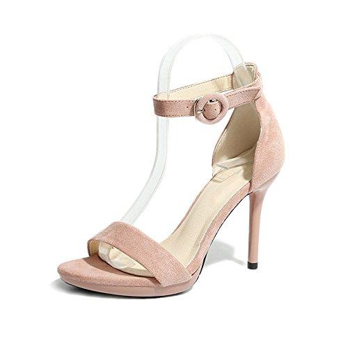 GAOLIM Zapatos De Mujer Femenina Taiwán Impermeable Zapatos Y Sandalias En El Verano, El Fino Y Ultra-Alta Con Zapatos Fijaciones Ranuradas, Rocío-Toe Zapatos De Mujer Con Alta (8Cm O Más) Rosa