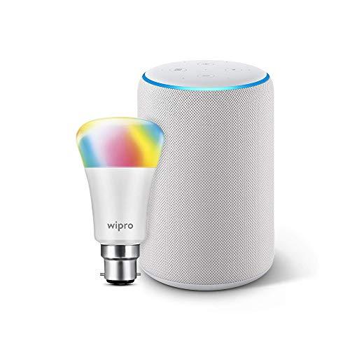 Amazon Echo (3rd Gen, White) bundle with Wipro 9W LED Smart color bulb