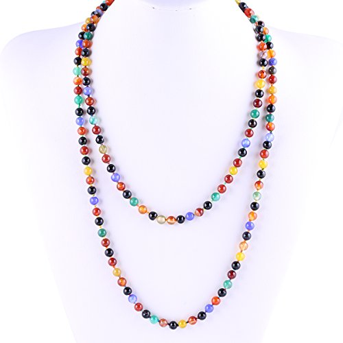 6mm Agate Beads Necklace Bracelet Multicolor Handmade Strand Long Necklace for Women 47""