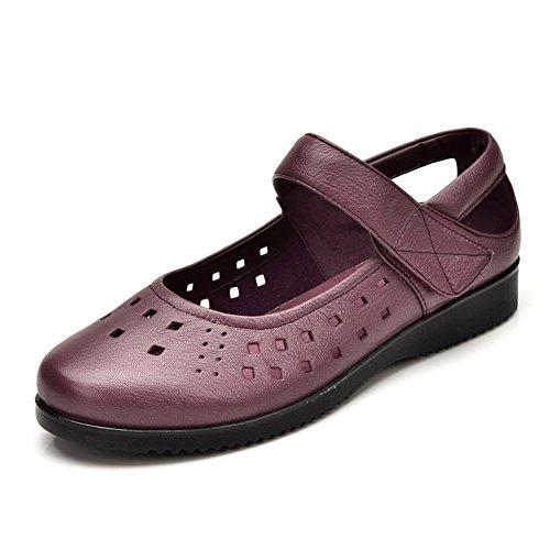 madre en zapatos de verano/Sandalias planas de las señoras/Corte bajo zapatos Velcro B
