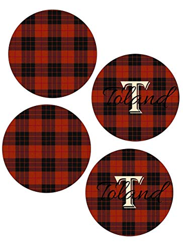- Red & Black Tartan Plaid Coasters (Set of 4) - Personalized
