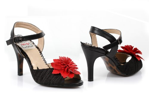 PU Red Bettie BP350 Flower Sandal Satin Page SHIRLEY With Black gz6zq1Yw