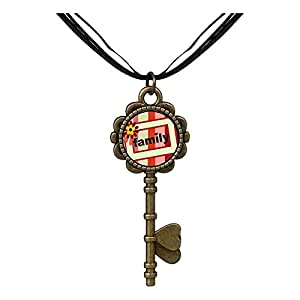 Chicforest Bronze Retro Style Family Flower Frame Key to Her Heart Pendant