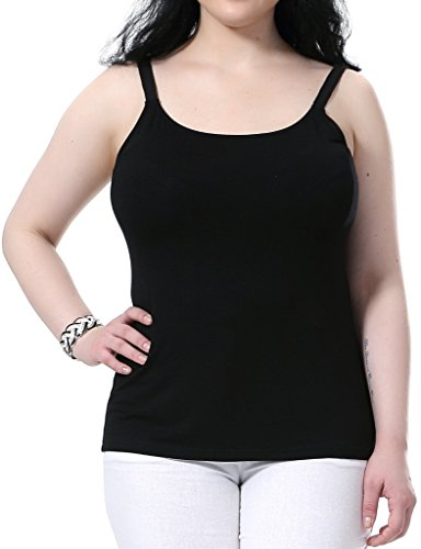 Chicwe Women's Plus Size Modal Jersey Camisole Tank Top - Adjustable Straps Black 24