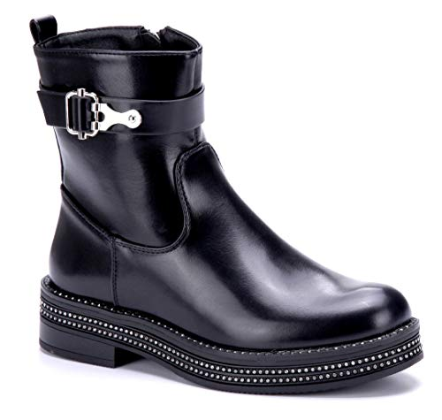 Schnalle 4 Stiefeletten Schwarz cm Blockabsatz Ziersteine Boots Stiefel Klassische Schuhe Damen Schuhtempel24 qT4wHz0H