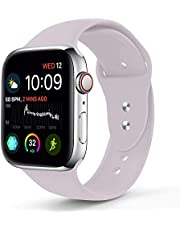 Sport Band Compatible With Apple Watch 42MM 44MM, Soft Silicone Replacement Strap Compatible For Apple Watch Series 4/3/2/1 (S/M Size in Lavender Color)