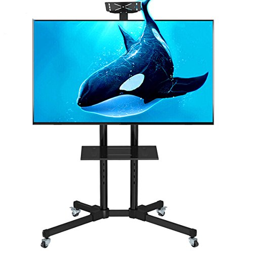 uyoyous TV Cart Mobile TV Stand Wheels Shelf Height Adjustable LCD LED Plasma Flat Screen Panels Stand Fits 32