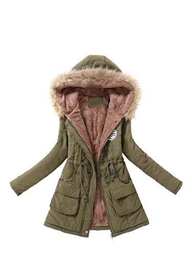 - MAKEMECHIC Women's Long Sleeve Winter Lined Faux Fur Zipper Hooded Parka Coat Ourwear with Pocket Green M