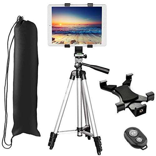 """Tablet Tripod, PEYOU 42"""" inch Portable Lightweight Adjustable Aluminum Camera Tablet Tripod + Universal Mount Tablet Holder + Bluetooth Wireless Remote Shutter Compatible for iPad Samsung Kindle Fire"""