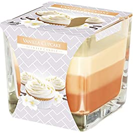 Bispol Beautiful 3 Colour Candle in Glass, 10 scents, 32 hours burning time (Vanilla Cupcake)