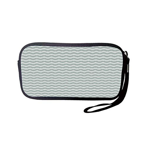 Neoprene Wristlet Wallet Bag,Coin Pouch,Abstract,Curvy Different Sized Lines Bold Stripes Ocean Waves Inspired Pattern,Light Sage Green White,for Women and ()