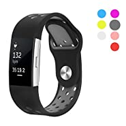 Hanlesi Band for Fitbit Charge 2, Soft Silicone Breathable Fashion Sport Strap for Fit bit Charge2 Replacement Original Accessory