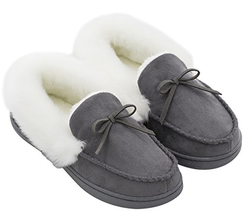 HomeIdeas Women's Faux Fur Lined Suede Comfort House Slippers, Anti-Slip Winter Indoor/Outdoor Moccasin Shoes (7 B(M) US, Dark Gray)