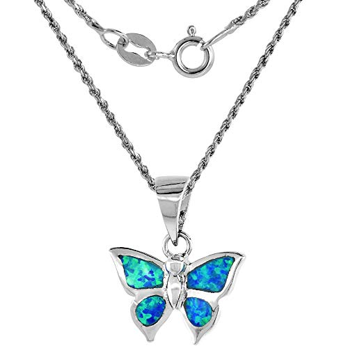 Sterling Silver Synthetic Opal Butterfly Necklace for Women Hand Inlay 5/8 inch 16 inch - Opal Pendant Butterfly