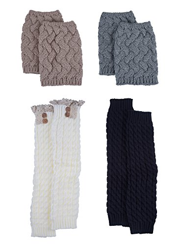 Blulu Women Knit Leg Warmers Boot Socks Toppers Crochet Cuffs with Button and Lace, 4 Pair -