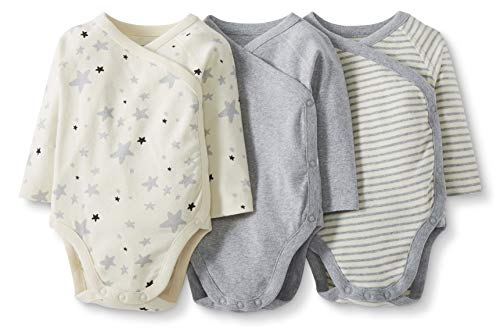 Moon and Back by Hanna Andersson Baby 3-Pack Organic Cotton Long Sleeve Side Snap Bodysuit, Gray, Newborn