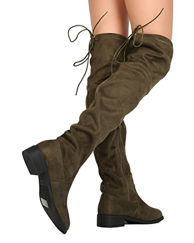 High Breeze FF72 Nature Olive Drawstring Thigh Riding Suede Boot Women Faux wXaAxqa