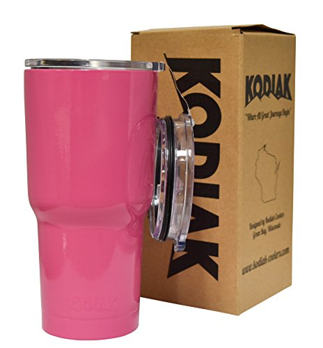Kodiak Coolers Vacuum Insulated Tumbler Two Lids - Stainless Steel Double Wall - Thermal Coffee Travel Cup Mug – Thermos BPA Free – Compare to RTIC - Hold Ice Over 24 Hours (Pink 30)