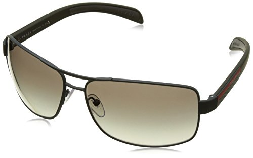 Prada PS54IS UFI0A7  Linea Rossa Aviator Polarized Sunglasses, Green Frame/Gray Lenses, - Aviator Sunglasses Rectangular Prada