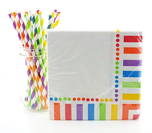 Rainbow Party Supplies Tableware Kit (Napkins & Straws) -Summer, Spring Party, Birthday Partyware - 16 Ct Rainbow Paper Napkins & 25 Ct. Straws, Fun Party Table Decorations, Unicorn Party]()