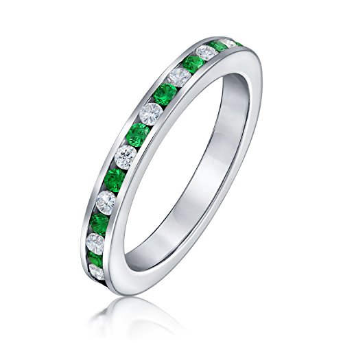 Green White Alternating Stackable CZ Channel Set Eternity Band Ring Simulated Emerald For Women For Teen Sterling Silver ()