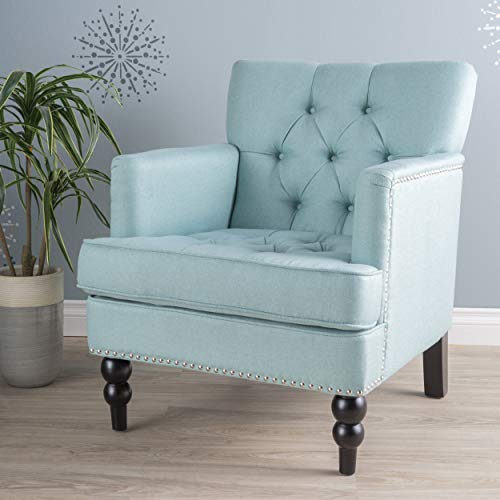 Great Deal Furniture 300098 Tufted Club, Decorative Accent Chair with Studded Details-Light Blue ()