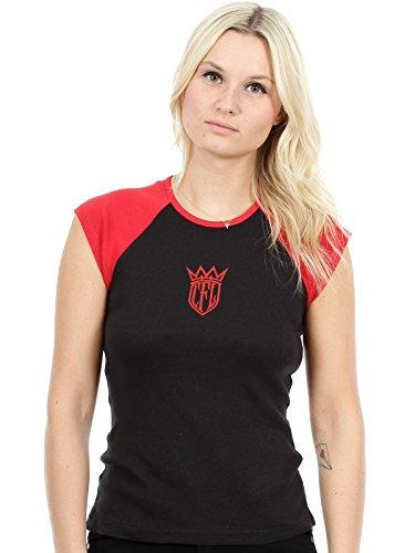 Camiseta mujer West Coast Choppers CFL Baseball Capsleeve Negro-rojo