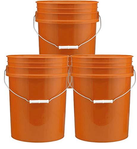 (5 Gallon Plastic Buckets, Orange Color   3 Pack   HDPE Plastic   Super Heavy Duty 90 Ml)